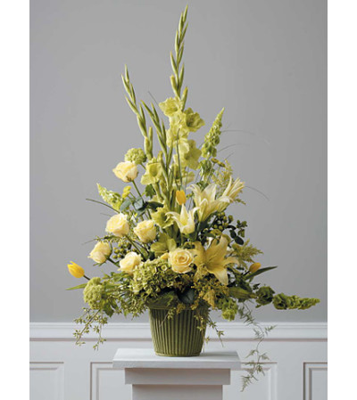 Traditional Yellow & Sage Arrangement
