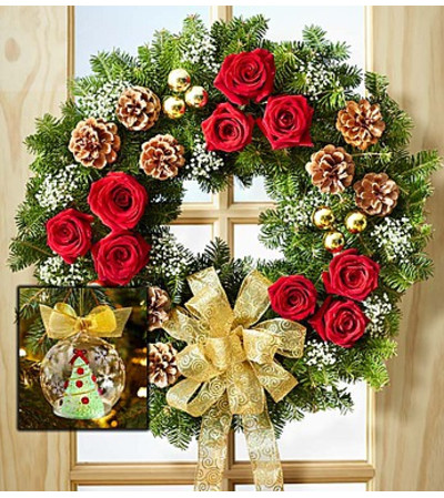 Fresh Evergreen Wreath with Flowers