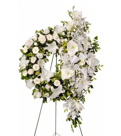 Elegant White Funeral Wreath