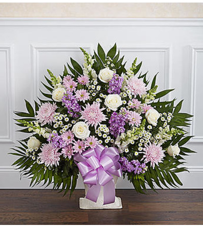 Heartfelt Tribute Lavender & White Floor Basket