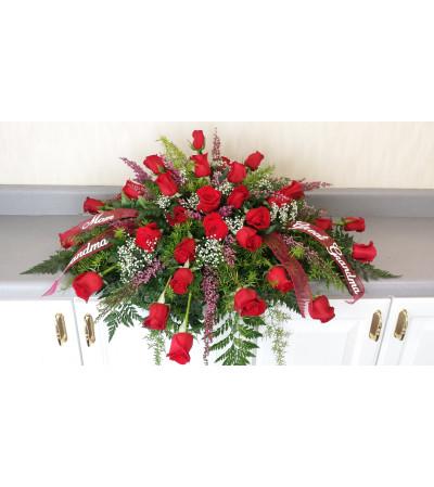 Remembrance Red Rose Casket Piece