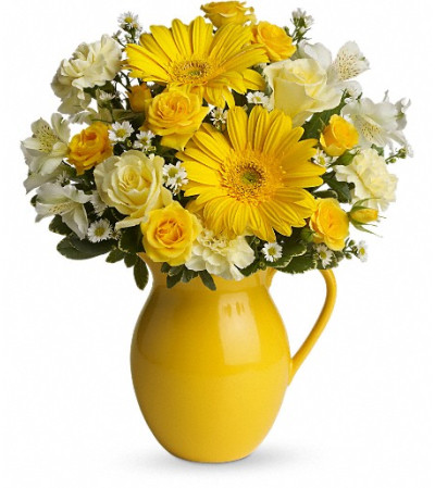 Teleflora's Sunny Day Pitcher of Cheer
