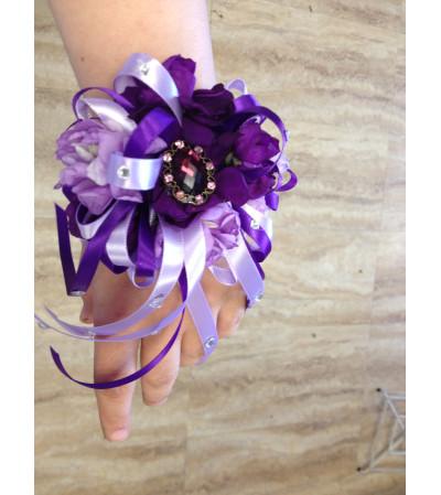 purple stock corsage