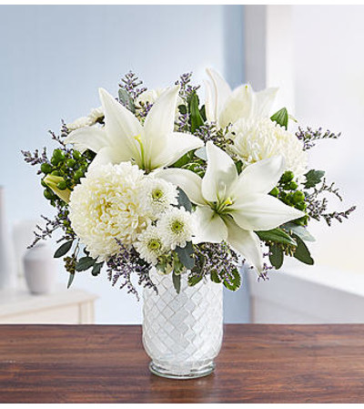 Pure Elegance Bouquet™ in White Mosaic Vase