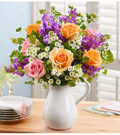 Pitcher Full of Roses with Stock