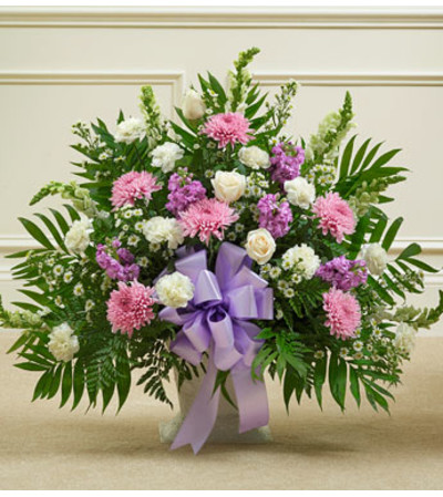 Lavender and White Sympathy Floor Basket