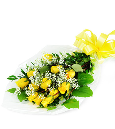 Perfect Wrapped Long-Stemmed Yellow Roses