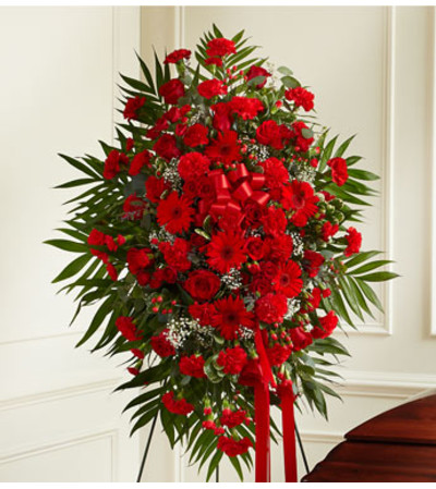 Red Mixed Sympathy Standing Spray