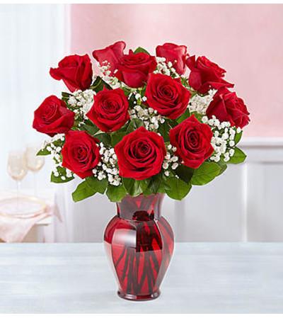 Blooming Love™ Red Roses in Red Vase