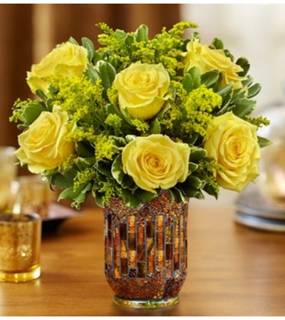Roses in a Mosaic Vase - Yellow