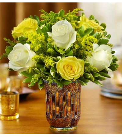 Roses in a Mosaic Vase - Yellow and White