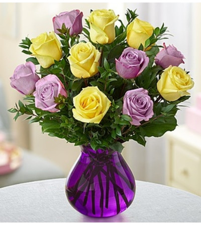 Radiant Rose Bouquet™ - Purple and Yellow