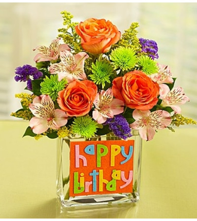 Happy Birthday Bouquet in Rectangle Vase