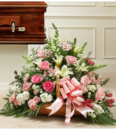 Pink And White Rose Fireside Basket