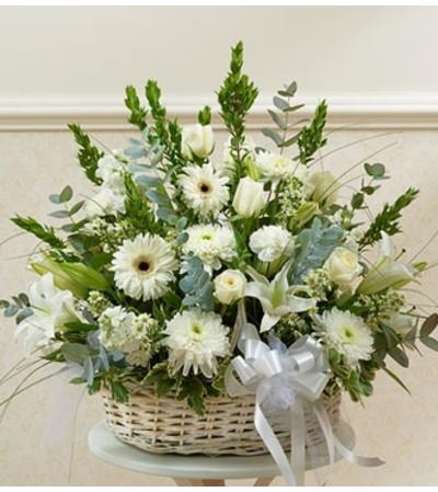 White Sympathy Arrangement in Basket