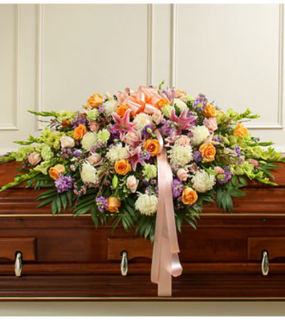 Pastel Mixed Flower Full Casket Cover