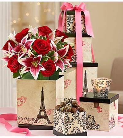 Tower of Love Bouquet with Votive and Chocola