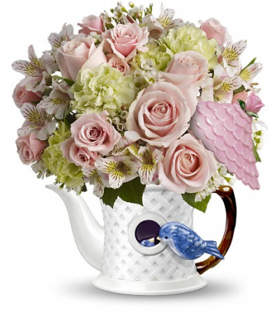 Teleflora's Bluebird Blush Bouquet