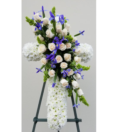 White Cross with Blue Irises