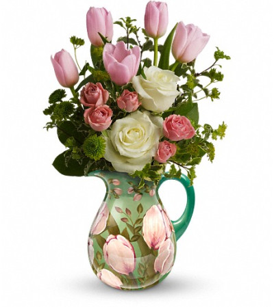 Teleflora's Spring Pitcher Bouquet