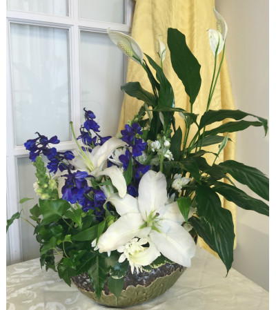 With Deepest Sympathy-Blue and White