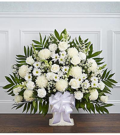 Heartfelt Tribute White Floor Basket