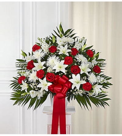 Heartfelt Sympathies™ Red & White Standing Basket