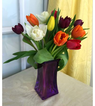 Tulips in Purple Square Vase