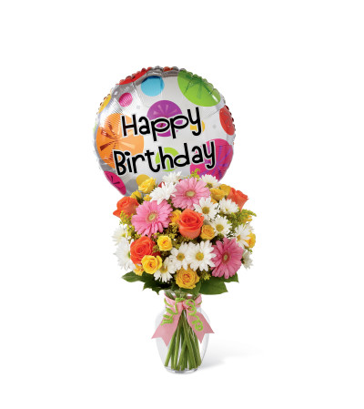 The FTD® Birthday Cheer™ Bouquet with Balloon
