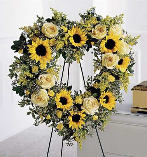 Sunflower and Roses Open Funeral Heart