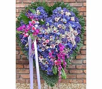 Solid Heart Blue Hydrangea, Blue Iris & Purple Orchids