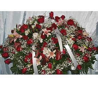 Red Roses with Oriental Orchids