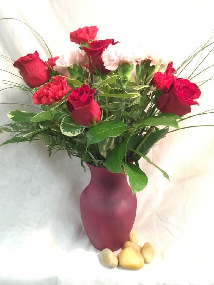 Simply Elegant Red Rose and Carnation Arrangement