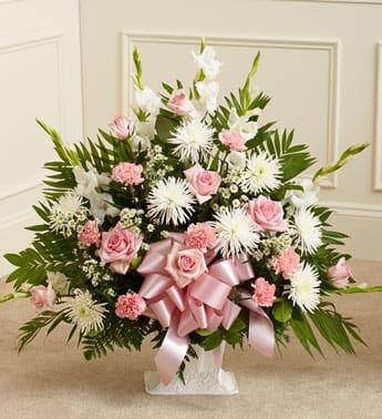 Tribute Pink & White Floor Basket