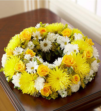 Cremation Wreath - Yellow and White