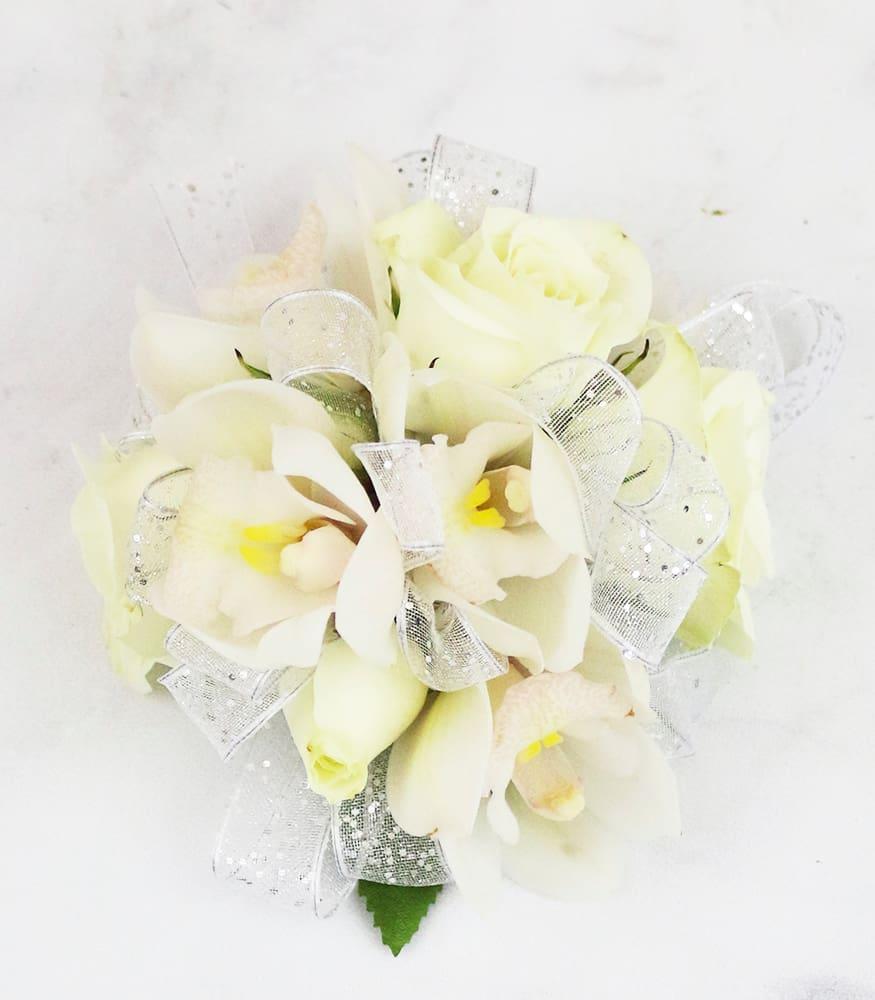 White Spray Rose Wristlet