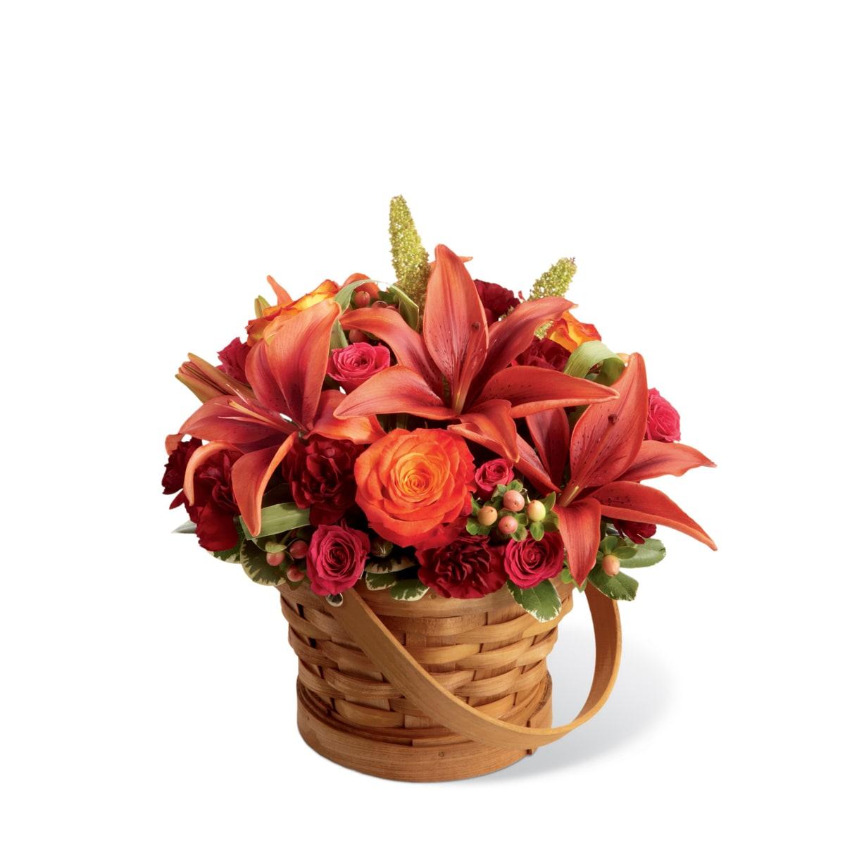 The FTD® Abundant Harvest™ Basket with Lilies