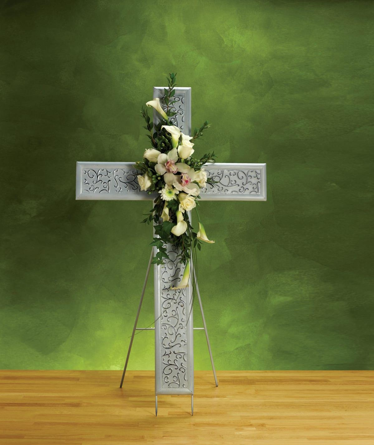 White Sympathy Cross w/ Easel