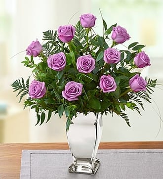 Premium Purple Roses in Silver Vase