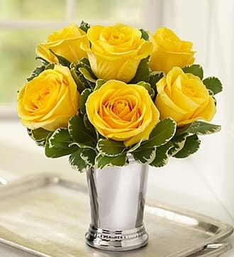 Julep Cup Rose Arrangement - Yellow