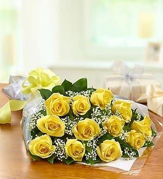 One Dozen Rose Presentation Bouquet - Yellow
