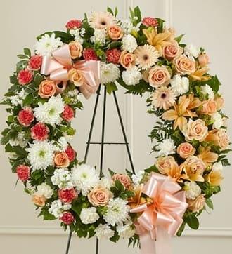 Peach, Orange and White Standing Wreath