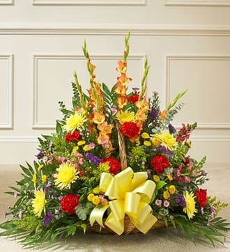 Multicolor Bright Mixed Flower Fireside Baske