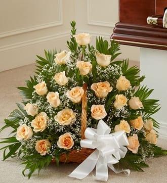 Peach, Orange, and White Rose Fireside Basket