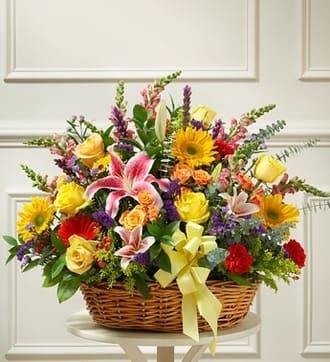 Bright Flower Sympathy Basket