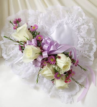 Lavender and White Satin Heart Casket Pillow