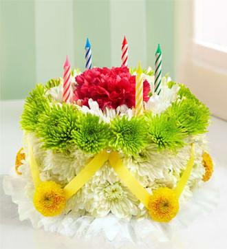 Birthday Flower Cake ® - Green and Yellow