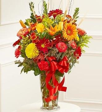 Large Sympathy Vase Arrangement in Fall Color
