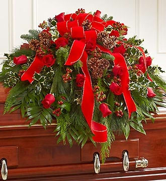 Half Casket Cover in Christmas Colors