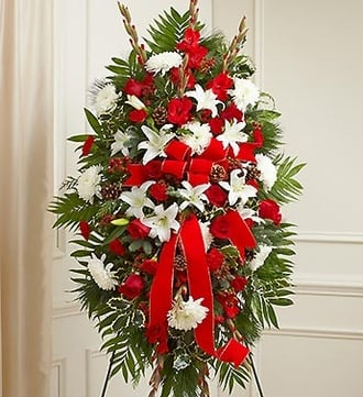 Sympathy Standing Spray in Christmas Colors